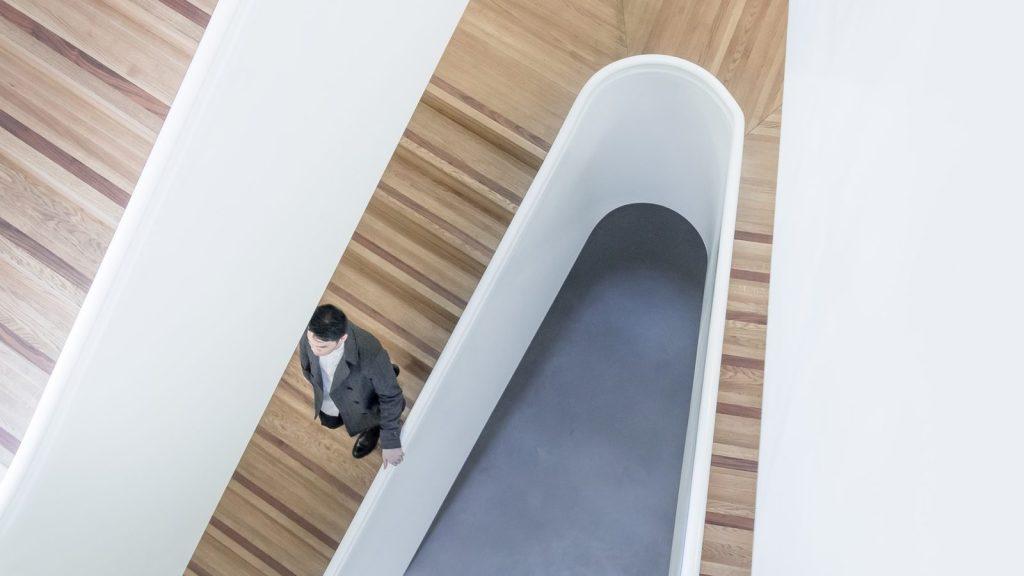 Man on stairway